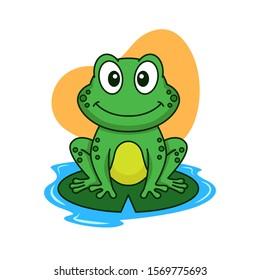 Cute frog vector cartoon illustration