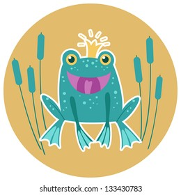 Cute frog vector character.