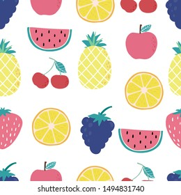 Cute fruit background with lemon,cherry,apple,watermelon,grape.Vector illustration seamless pattern for background,wallpaper,frabic