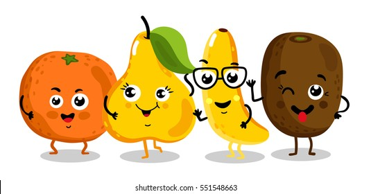Cute fruit cartoon characters isolated on white background vector illustration. Funny orange, kiwi, pear, banana emoticon face icon collection. Happy smile positive and friendly comical fruit mascot