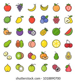 Cute fruit filled outline icon set, such as orange, kiwi, coconut, banana, papaya, peach, tropical fruits