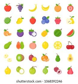 Cute fruit flat icon set, such as orange, kiwi, coconut, banana, papaya, peach, tropical fruits