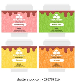 Cute fruit ice cream package design with different types of ice cream. Vector illustration. Background is seamless pattern