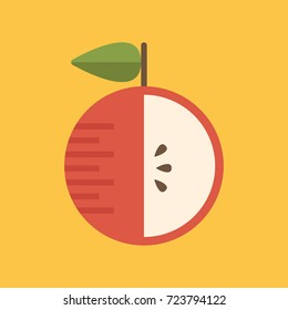 Cute fruit icon. Colorful vector apple illustration. Apple inside. Cartoon object. Cooking and eating. Can be used as an illustration for books, brochures, in web and print design