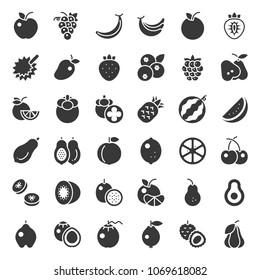 Cute fruit solid icon set, such as orange, kiwi, coconut, banana, papaya, peach, tropical fruits