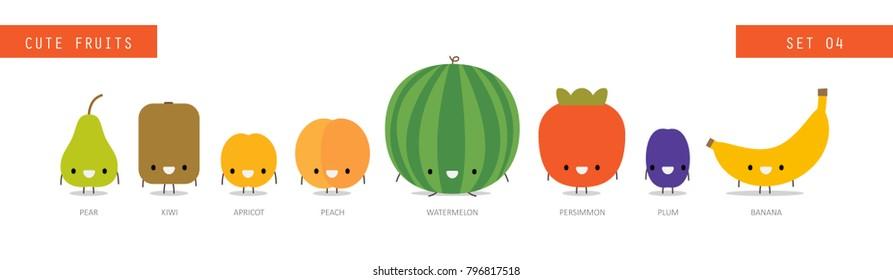 Cute fruit. Vector design.