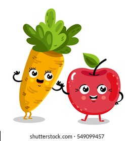 Cute fruit and vegetable cartoon characters isolated on white background vector illustration. Funny cherry and carrot emoticon face icon collection. Happy smile cartoon face food emoji, comical fruit