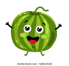 Cute fruit watermelon cartoon character isolated on white background vector illustration. Funny positive and friendly watermelon emoticon face icon. Happy smile cartoon face food emoji, comical fruit