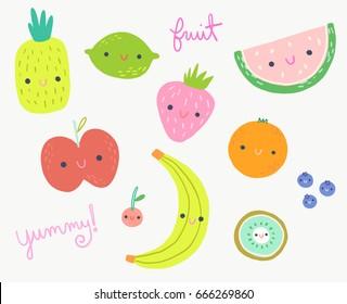 Cute Fruits Clip Art Illustration Set