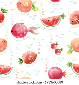 Cute Fruits mix Fish characters. Cartoon doodle illustration seamless pattern for kids apparel, fabric, wrapping paper. watercolour style.