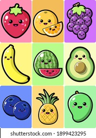 Cute Fruits Set Vector Icon Illustration. Food And Drink Icon Concept White Isolated. Flat Cartoon Style Suitable for Web Landing Page, Banner, Flyer, Sticker, Card