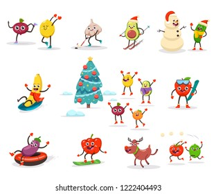 Cute fruits and vegetables kids are engaged in winter sports and activities. Funny food cartoon character enjoying Christmas holidays. Vector set isolated on a white background.