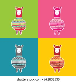 Cute and fun alpaca multi colored vector illustration with a patterned jumper in various colors.