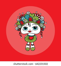 Cute and fun doodle doll vector illustration with hearts, curls, doodles and swirls on her head, a big smile and big eyes.