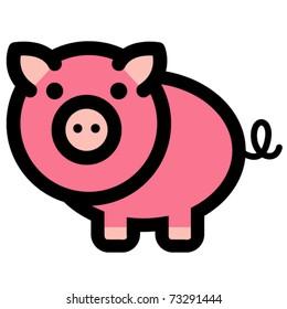 Cute, fun and funny cartoon pig or barnyard animal.
