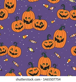 Cute and fun halloween pumpkins seamless pattern, smiling pumpkin faces - great for halloween wallpapers, banners, prints or party invitations.