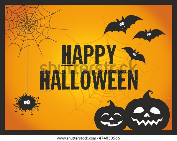 Cute Fun Happy Halloween Vector Illustration Stock Vector Royalty Free 474830566