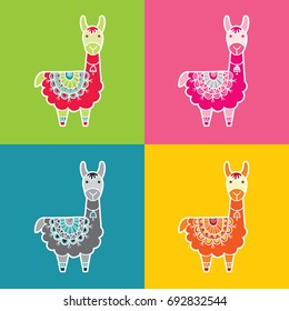 Cute and fun llama multi colored vector illustration with a patterned blanket in various colors.