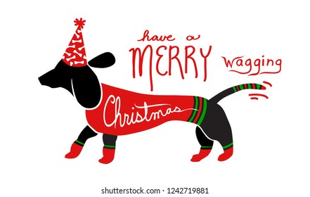 cute fun Merry Christmas dog art vector with handwritten holiday saying, dachshund wiener dog is dressed in red and green sweater and socks and wagging tail
