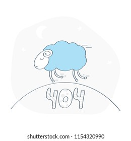 Cute funny 404 page, lamb running on a hill. 404, page not found, error, sorry web page, trouble, failure, oops page icon concept. Flat line vector illustration.