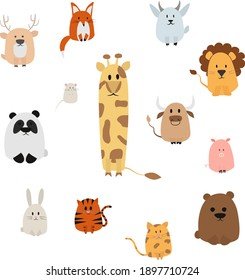 Cute funny abstract bundle of animals for children. Vector wild and farms animals