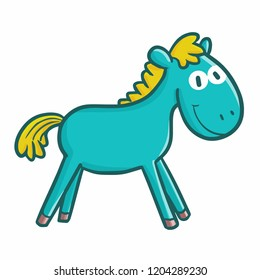 Cute and funny absurd green horse - vector