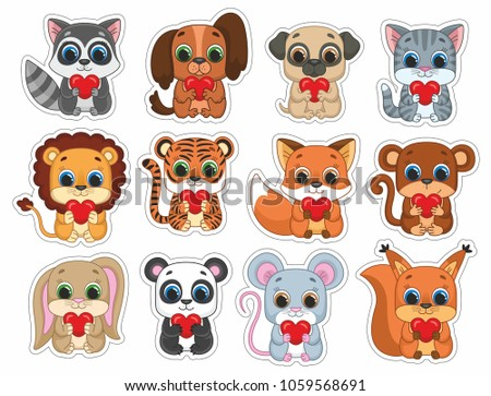 Cute Funny Animal Kids Stickers Cutting Stock Vector Royalty Free