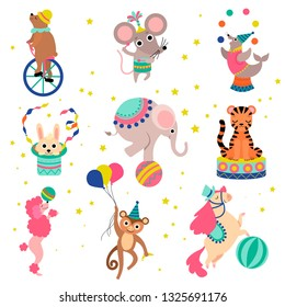 Cute Funny Animals Performing in Circus Show Set Vector Illustration