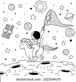 Cute funny astronaut riding unicorn to catch the star on moon for print on your product and coloring book page for relaxing.Vector illustration