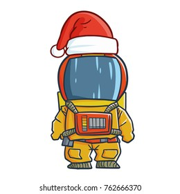 Cute and funny astronout wearing Santa's hat for Christmas and smiling - vector.