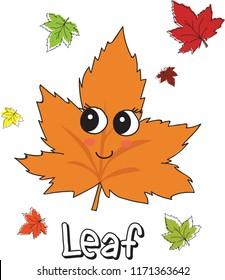 Cute, funny Autumun Leaf has big eyes with sketch of leafs illustration. emoji, cartoon character, sketch vector