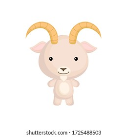 Cute funny baby goat isolated on white background. Farm adorable animal character for design of album, scrapbook, card and invitation. Flat cartoon colorful vector illustration.