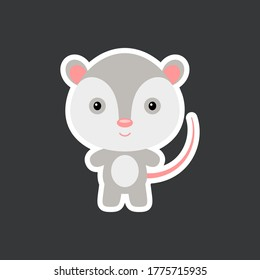 Cute funny baby opossum sticker. Adorable animal character for design of album, scrapbook, card, poster, invitation. Flat cartoon colorful vector stock illustration.