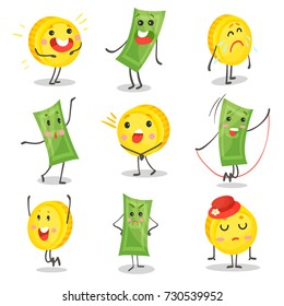 Cute funny banknotes and coins humanized characters showing various emotions set, money and finance concept cartoon vector Illustrations