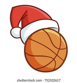 Cute and funny basketball wearing Santa's hat and - vector.