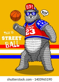 cute funny bear basketball street wild animal cartoon vector illustration character design tee shirt print icon graphic