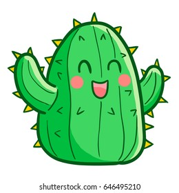 Cute and funny big green cactus smiling happily - vector.