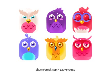 Cute funny birds set, colorful glossy birdies vector Illustration
