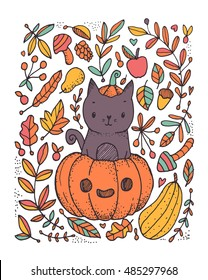 cute funny black cat sitting in the pumpkin. Autumn harvest vegetables and Halloween Jack o Lantern head. Witch kitten.