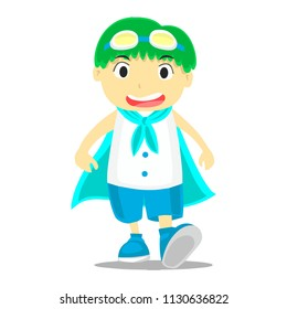 Cute and funny boy with gogles walking - vector.