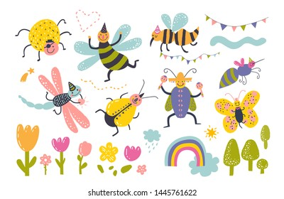 Cute and funny bug set in cartoon style, . Character insects collection for kids design, poster, card, web. Vector illustration, all elements are isolated