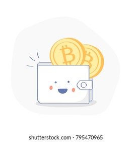 Cute funny cartoon Bitcoin wallet with crypto currency and electronic money coins, tokens. Flat outline cryptocurrency, digital currency account icon.