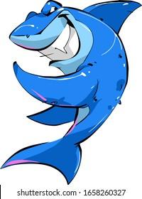 Cute funny cartoon blue shark shows a grin. Simple vector illustration.