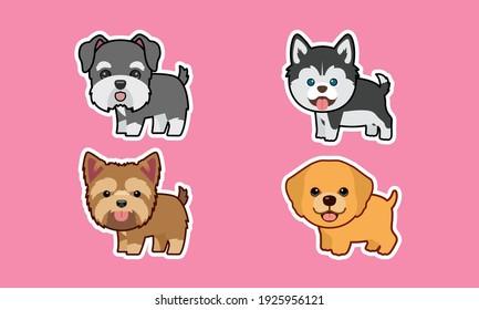 Cute funny cartoon breed puppy character