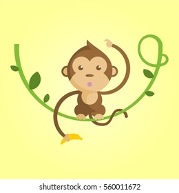 cute and funny cartoon brown monkey hanging on green tree holding yellow banana in yellow background for kids and children