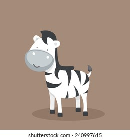 Cute funny cartoon character of a zebra on brown background.