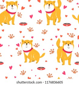 Cute funny cartoon dogs. Vector Shiba inu. Seamless pattern. Furry human friends. Home animal.