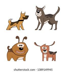 Cute funny cartoon dogs vector illustration.