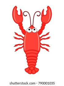 Cute funny cartoon lobster. Vector illustration isolated on white background. Sea animals.