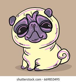 Cute Funny Cartoon Sitting Pug